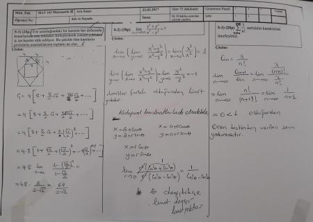 Matematik-2 Vize Soruları ve Cevapları-Mühendislik Fakültesi
