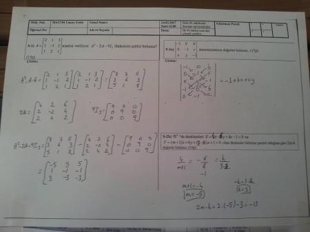 Lineer Cebir Final Soruları ve Cevapları - Mühendislik Fakültesi