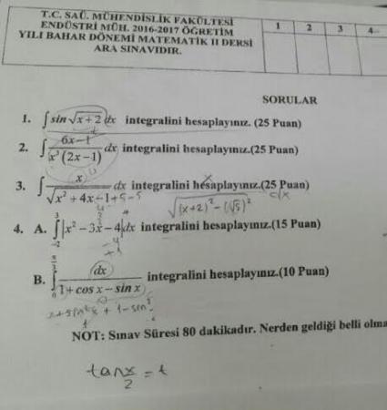 Matematik - 2 Arasınav Soruları
