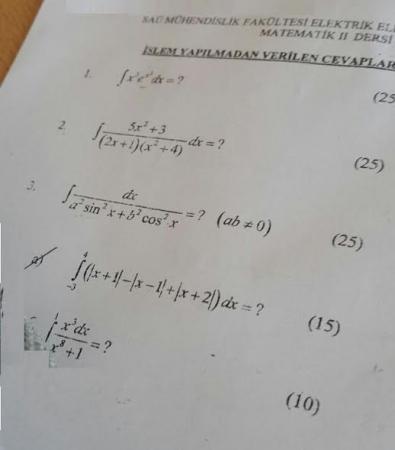 Matematik - 2 Final Soruları