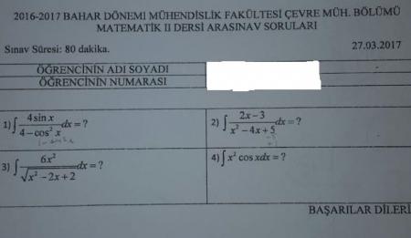 Matematik - 2 Arasınav Soruları - Mühendislik Fakültesi