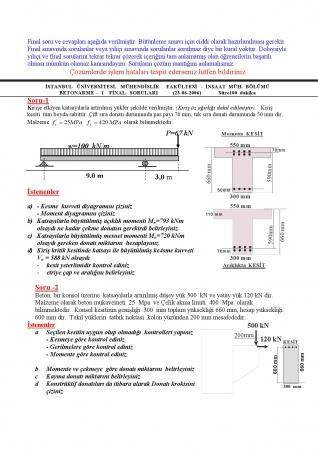 Betonarme - 1 Final Soru ve Cevapları