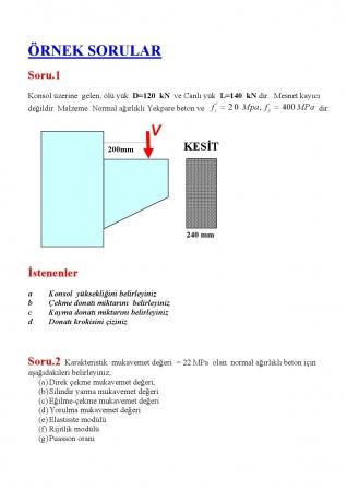 Betonarme - 1 Örnek Çalışma Soruları