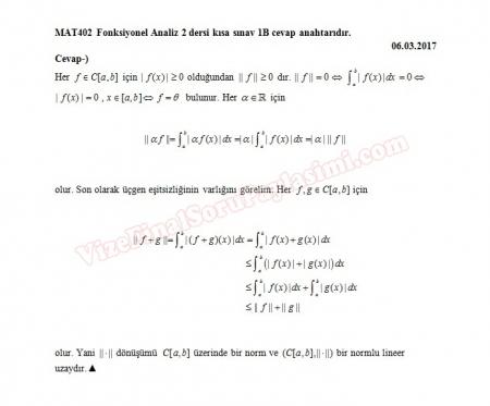 Fonksiyonel Analiz - 2 Kısa Sınav Soruları ve Cevapları
