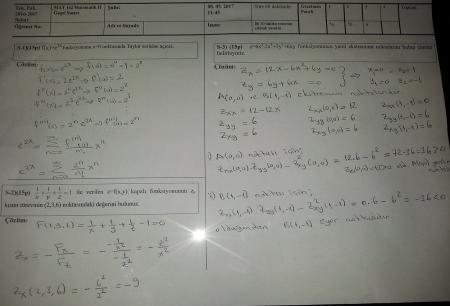 Matematik -2 Final Soruları ve Çözümleri - 2017