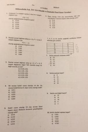 Olasılık ve İstatistik Final Soruları - Mühendislik Fakültesi
