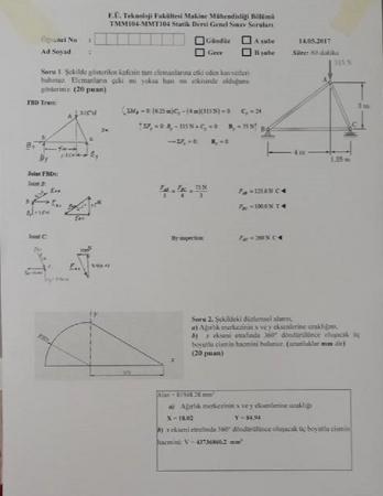 Statik Dersi Final Soruları ve Cevapları