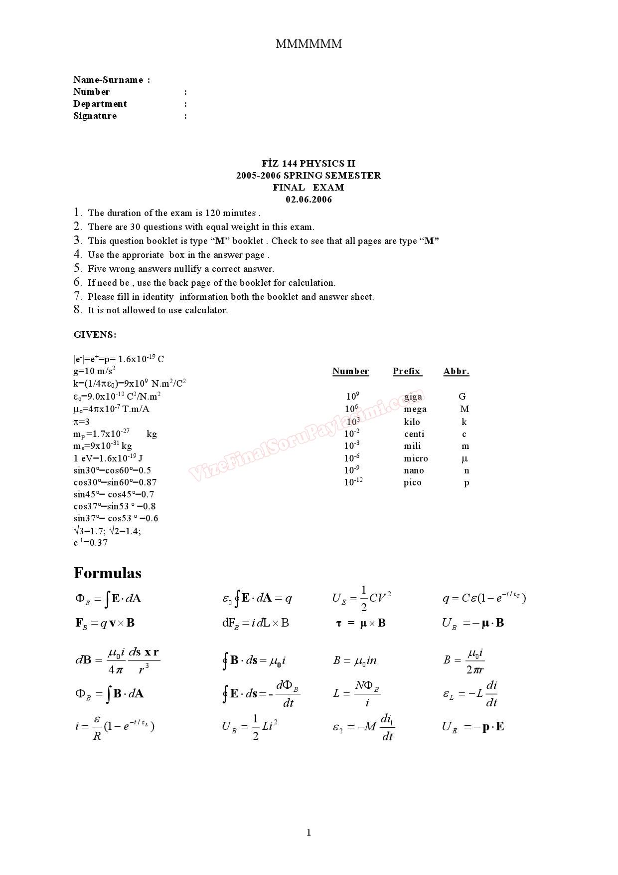 Physics - 2 Final Exam Questions » Vize ve Final Soruları