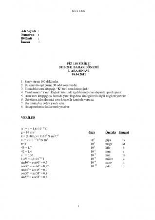 Fizik -2 Arasınav Soruları