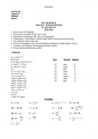 Fizik -2 Arasınav-2 Soruları