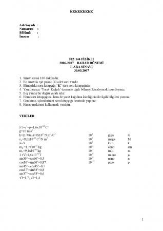 Fizik -2 Arasınav Soruları ve Cevapları