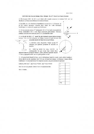 Fizik -1 Arasınav Soruları ve Cevapları