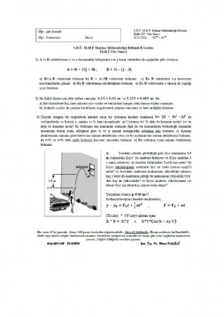 Fizik -1 Vize Soruları Ve Cevapları