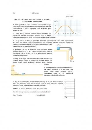 Fizik -1 Final Soruları ve Cevapları