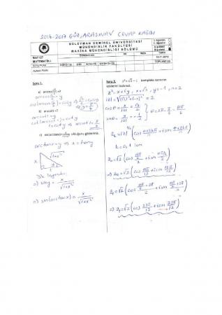Matematik -1 Arasınav Soruları ve Cevapları