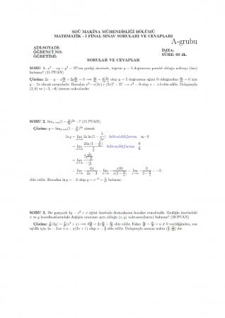 Matematik -1 Final Sınav Soruları ve Cevapları