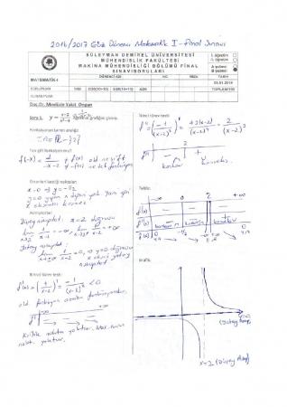 Matematik -1 Final Soruları ve Cevapları