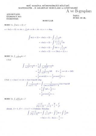 Matematik -2 Arasınav Soruları ve Cevapları