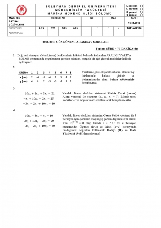 Sayısal Çözümleme Arasınav Soruları ve Cevapları