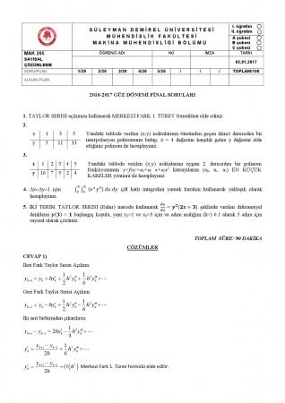 Sayısal Çözümleme Dersi Final Soruları ve Cevapları