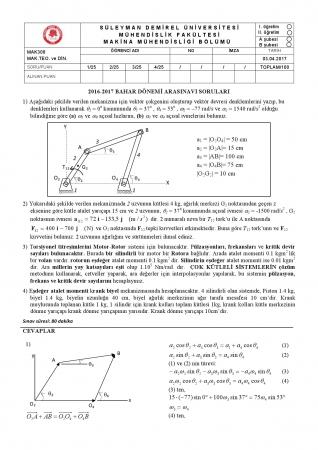 Makina Teorisi ve Dinamiği Dersi Arasınav Soruları ve Cevapları