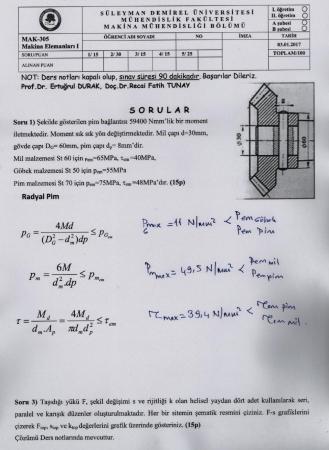Makina Elemanları -1 Final Sınav Soruları Ve Cevapları