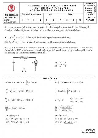 Mühendislik Matematiği -1 Vize Soruları ve Cevapları