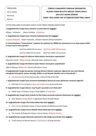 Kamu Özel Kesim ve Yapı İlişkileri Final Soruları ve Cevapları