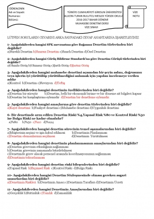 Muhasebe Denetimi Dersi Vize Soruları ve Cevapları