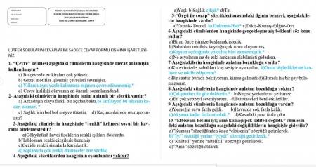Türk Dili -2 Bütünleme Soruları ve Cevapları
