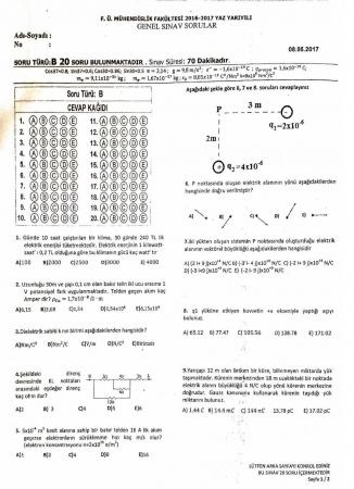 Fizik -2 Final Soruları - 08.05.2017