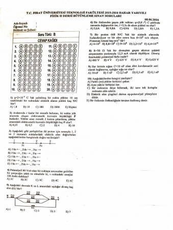 Fizik -2 Bütünleme Soruları - Teknoloji Fakültesi
