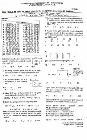 Fizik -2 Bütünleme Soruları - Mühendislik Fakültesi