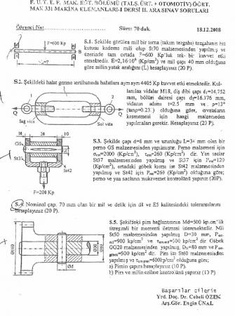 Makina Elemanları -1 Arasınav -2 Soruları ve Cevapları