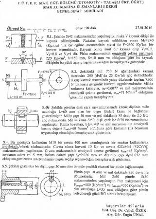 Makina Elemanları -1 Genel Sınav Soruları