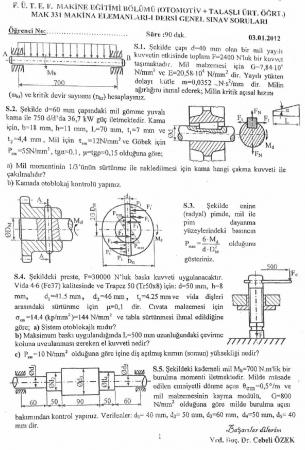 Makina Elemanları -1 Genel Sınav Soruları ve Cevapları