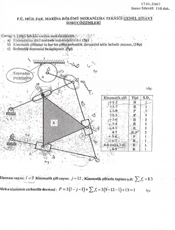 Mekanizma Tekniği Genel Sınav Soruları