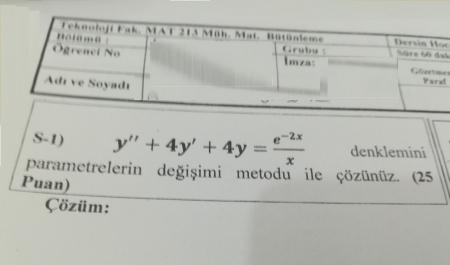 Mühendislik Matematiği Bütünleme Soruları -2018
