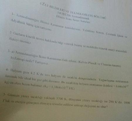 Termodinamik Dersi Final Soruları